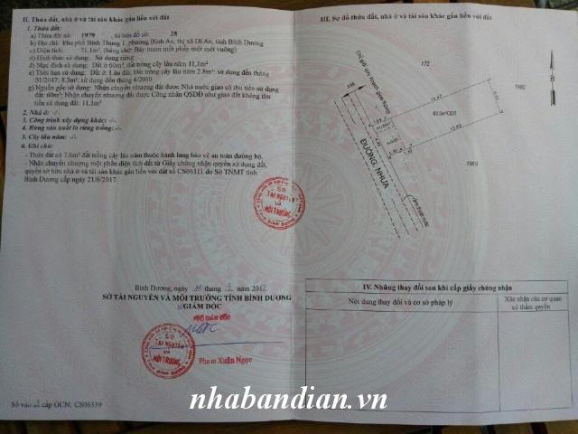 Bán đất 71.1m2 mặt tiền nhựa 5m gần chợ Bình An giá chỉ 910 triệu